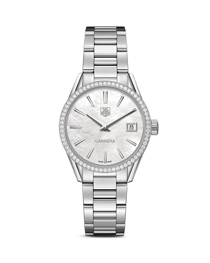 TAG Heuer - Carrera Stainless Steel and White Mother of Pearl Dial Watch with Diamond Bezel Case, 32mm