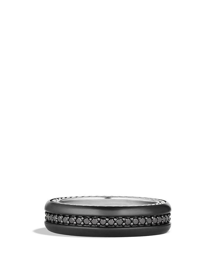 David Yurman - Streamline® Narrow Band Ring with Black Diamonds and Black Titanium