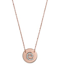 """Jane Basch - Jane Basch 14K Rose Gold Circle Disc Pendant Necklace with Diamond Initial, 16"""""""
