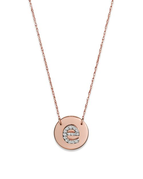 """Jane Basch - 14K Rose Gold Circle Disc Pendant Necklace with Diamond Initial, 16"""""""