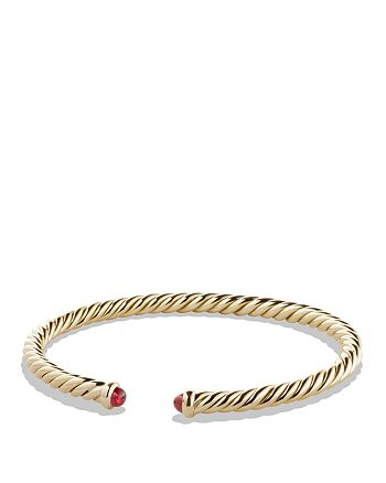 David Yurman - Precious Cable Pavé Cablespira Bracelet with Rubies in Gold