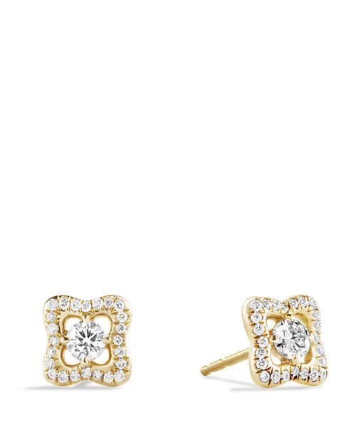 David Yurman Venetian Quatrefoil Earrings With Diamonds In Gold