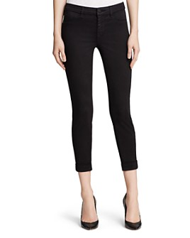 J Brand - Luxe Sateen Anja Cuffed Crop Jeans in Black