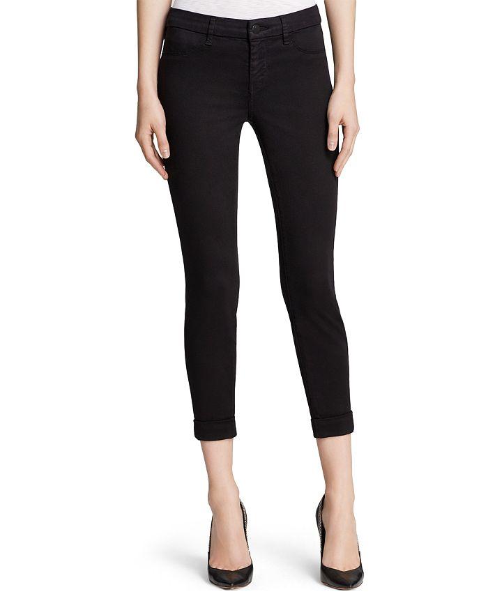 J Brand - Luxe Sateen Anja Cuffed Crop Jeans in Black
