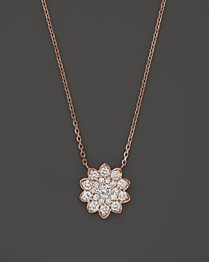Diamond Cluster Flower Pendant Necklace in 14K Rose Gold, .65 ct. t.w. - 100% Exclusive