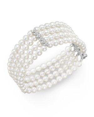 Cultured Freshwater Pearl Four Row Bracelet with Diamonds in 14K White Gold, 4.5mm