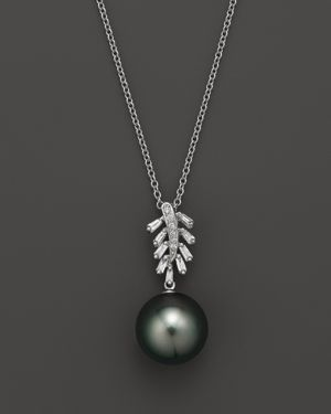 Cultured Tahitian Pearl Pendant Necklace with Diamonds and Baguettes in 14K White Gold, 16