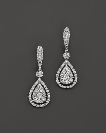 Bloomingdale's - Diamond Cluster Teardrop Earrings in 14K White Gold, 2.75 ct. t.w.- 100% Exclusive