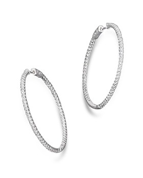 Bloomingdale S Diamond Inside Out Hoop Earrings In 14k White Gold 2 0 Ct