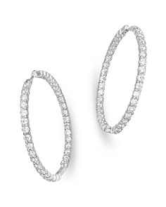 Roberto Coin 18k White Gold Large Diamond Inside Out Hoop Earrings Bloomingdale S 0