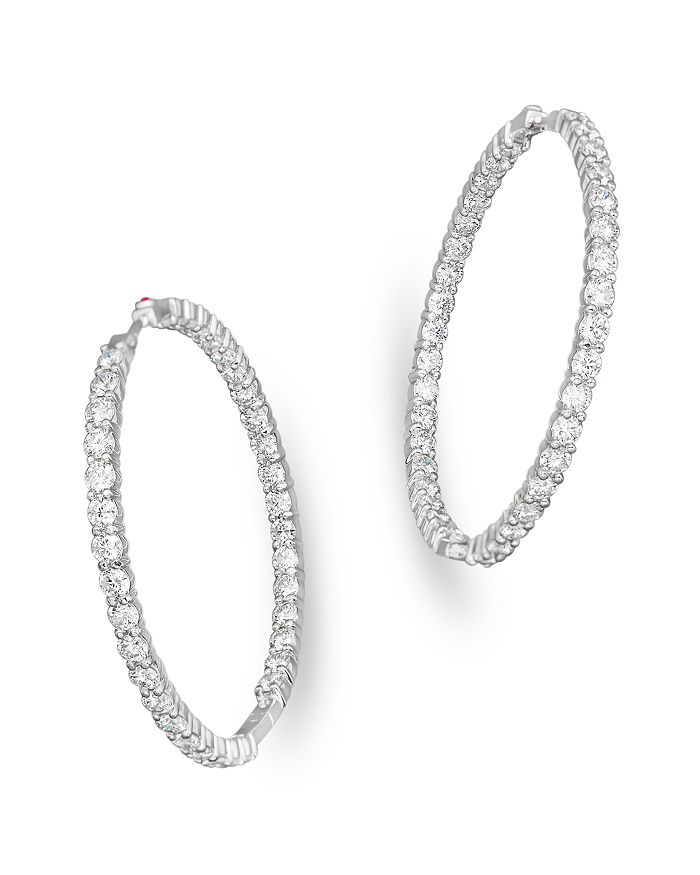 a6d304d0f Roberto Coin 18K White Gold Large Diamond Inside Out Hoop Earrings ...