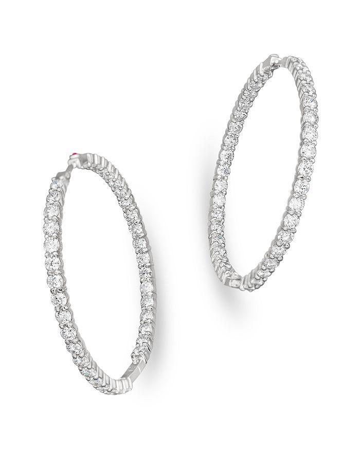 18k White Gold Large Diamond Inside Out Hoop Earrings