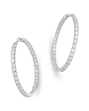 Roberto Coin 18K White Gold Large Diamond Inside Out Hoop Earrings