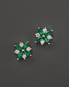 Emerald And Diamond Flower Stud Earrings In 14k Yellow Gold 100 Exclusive Bloomingdale
