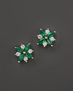 Emerald and Diamond Flower Stud Earrings in 14K Yellow Gold - 100% Exclusive - Bloomingdale's_0