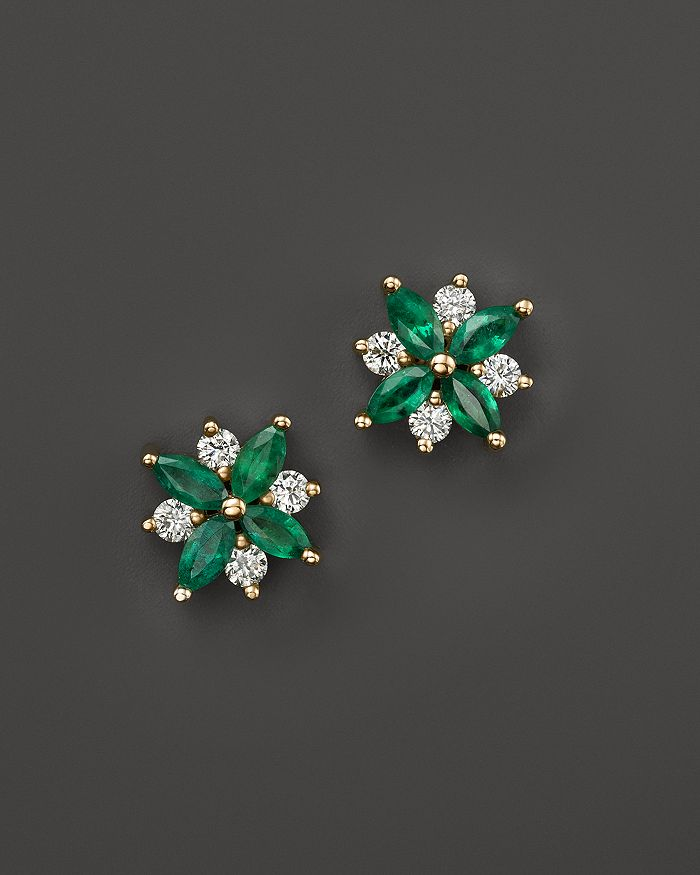 Emerald And Diamond Flower Stud Earrings In 14k Yellow Gold 100 Exclusive