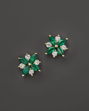 Emerald and Diamond Flower Stud Earrings in 14K Yellow Gold - 100% Exclusive