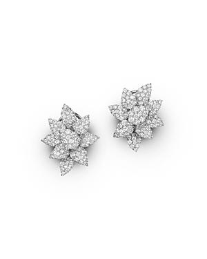 Diamond Cluster Flower Stud Earrings in 14K White Gold, 3.50 ct. t.w. - 100% Exclusive