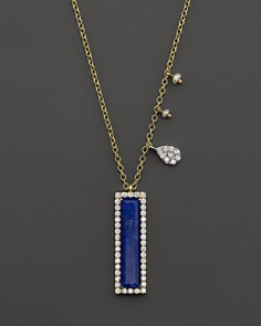 """Meira T 14K Yellow Gold Lapis Pendant Necklace with Diamonds, 16"""" - Bloomingdale'"""