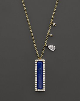 Meira T - 14K Yellow Gold Lapis Pendant Necklace with Diamonds, 16""