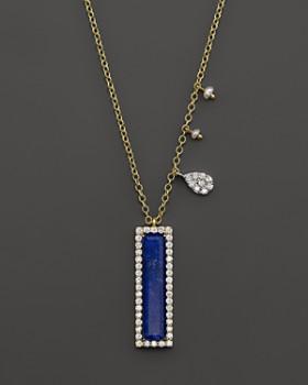 "Meira T - 14K Yellow Gold Lapis Pendant Necklace with Diamonds, 16"""