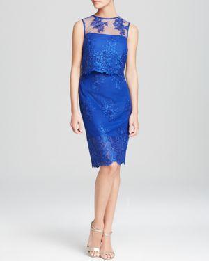 Ml Monique Lhuillier Dress - Sleeveless Lace Two-Piece