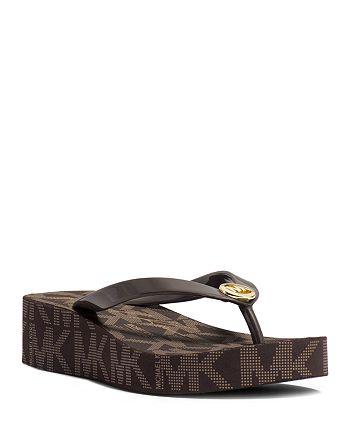 the cheapest best running shoes MICHAEL Michael Kors Flip-Flop Wedge Sandals - Bedford Logo ...