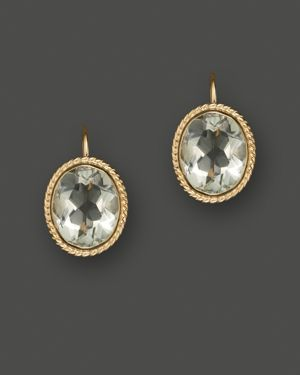 14K Yellow Gold Bezel Set Large Drop Earrings with Prasiolite - 100% Exclusive