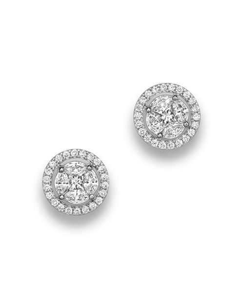 Bloomingdale's - Diamond Cluster Halo Stud Earrings in 14K White Gold, .95 ct. t.w.- 100% Exclusive