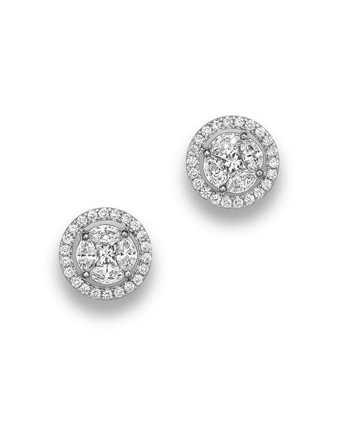 Bloomingdale's - Diamond Cluster Halo Stud Earrings in 14K White Gold, .95 ct. t.w. - 100% Exclusive