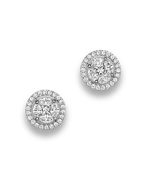 Diamond Cluster Halo Stud Earrings in 14K White Gold, .95 ct. t.w. - 100% Exclusive