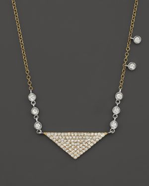 Meira T 14K Yellow Gold Triangle Pendant Necklace with Diamonds, 15