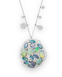 Meira T - 14K White Gold Mosaic Opal Pendant Necklace, 18""