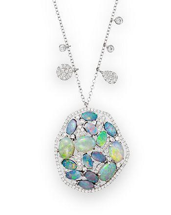 "Meira T - 14K White Gold Mosaic Opal Pendant Necklace, 18"""