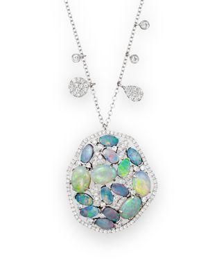 Meira T 14K White Gold Mosaic Opal Pendant Necklace, 18