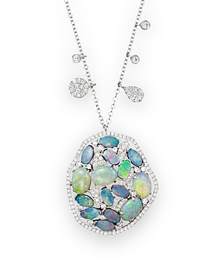 Click here for Meira T 14K White Gold Mosaic Opal Pendant Necklac... prices