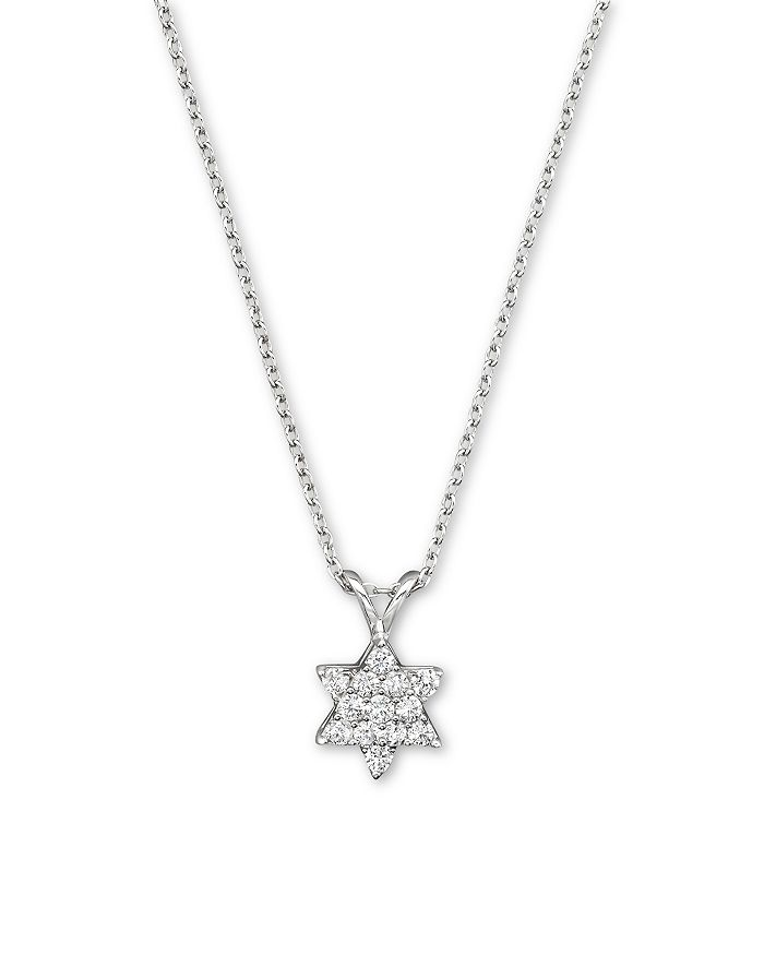Bloomingdale's - Diamond Star of David Pendant Necklace in 14K White Gold, .25 ct. t.w.- 100% Exclusive