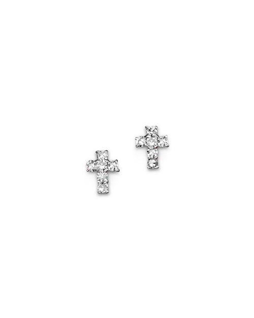 KC Designs - Diamond Small Cross Stud Earrings in 14K White Gold, .12 ct. t.w.