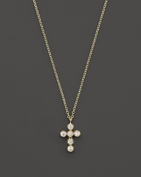 KC Designs - Diamond Cross Pendant Necklace in 14K Yellow Gold, .18 ct. t.w.