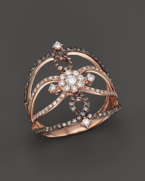 KC DESIGNS Champagne And White Diamond Ring In 14K Rose Gold in Pink/Multi
