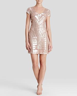Adrianna Papell Dress - V-Neck Cap Sleeve Embellished