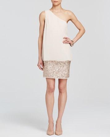 $Aidan Mattox Dress - One Shoulder Chiffon Overlay & Beaded Skirt - Bloomingdale's