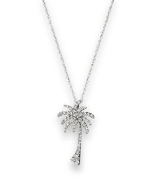 DIAMOND PALM TREE PENDANT NECKLACE IN 14K WHITE GOLD, .25 CT. T.W. - 100% EXCLUSIVE