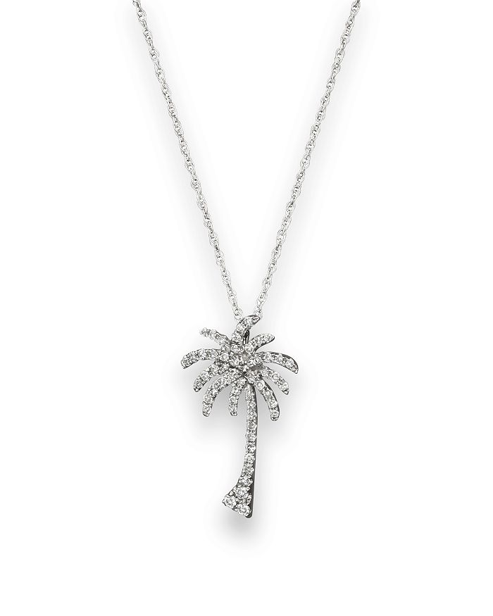 Bloomingdale's - Diamond Palm Tree Pendant Necklace in 14K White Gold, .25 ct. t.w. - 100% Exclusive