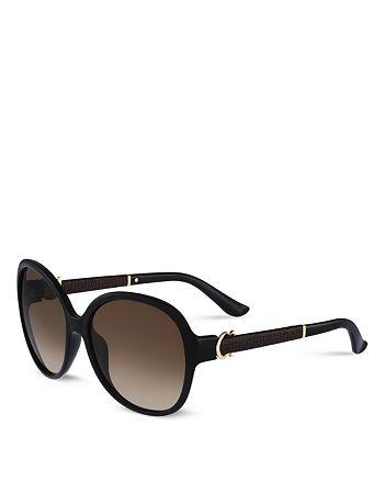 a6906b87dbc Salvatore Ferragamo - Women s Leather Oversized Round Sunglasses