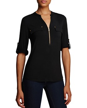 Calvin Klein - Zip Front Roll Sleeve Knit Blouse