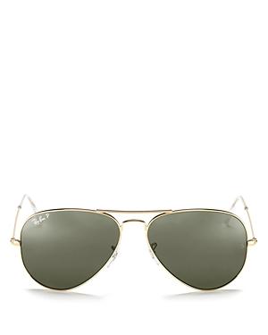 Ray-Ban Unisex Polarized Brow Bar Aviator Sunglasses, 62mm