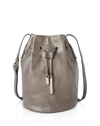 2f87dc6918 HALSTON HERITAGE - City Casual Embossed Lizard Bucket Bag