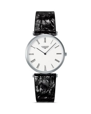 L4.755.4.71.2 LA GRANDE CLASSIQUE STAINLESS STEEL AND ALLIGATOR LEATHER WATCH