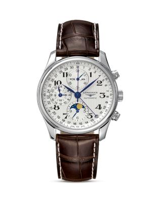 LONGINES L2.773.4.78.3 Master Stainless Steel And Alligator Strap Watch in Brown/ Silver